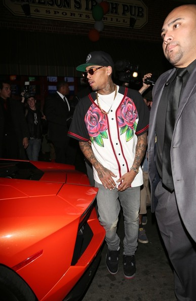 Chris Brown Out Late