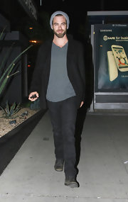 Chris Pine chose a classic pea coat for look while out at Boosty Bellows in LA.