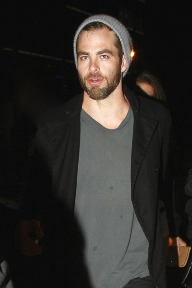 Chris Pine rocked a slouchy knit gray beanie while out partying in LA.