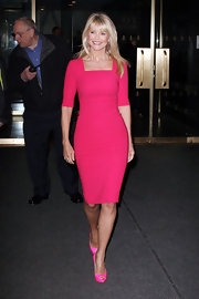 Christie Brinkley was a vibrant beauty in NYC wearing this hot pink sheath dress.