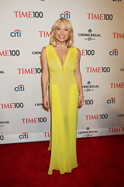 A column-style sheer yellow gown gave Tracy Anderson a super sexy red carpet look at the Time 100 Gala.