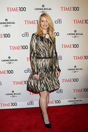 Claire Danes stunned in a long-sleeve, printed frock at the Time 100 Gala.