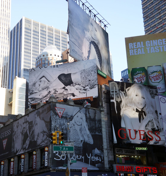 Claudia Schiffer graces Time Square in Guess's 30 Sexy Years anniversary campaign