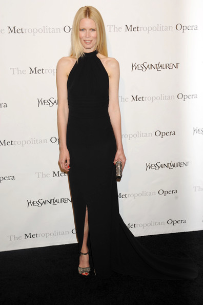 Claudia Schiffer wowed at the Metropolitan Opera Gala in black cut-out ankle strap platforms.