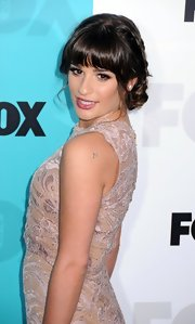 Lea Michele attended the FOX Upfronts after party wearing her long hair in an adorable braided updo.