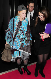Vivienne Westwood was bundled up in a shawl of her own design at the Elle Style Awards.