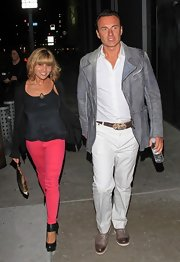 Julian McMahon was spotted at the Pantages Theater looking sporty and stylish in a gray leather jacket.