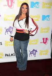 Deena Nicole Cortese posed for the camera in a semi-fitted wrap top at a screening event for 'The Cabin in the Woods.'