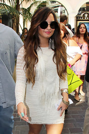 Demi Lovato made an appearance on 'Access Hollywood' wearing a pair of round oversized sunglasses.