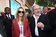 Vanessa Paradis added a flash of color with this red blazer.