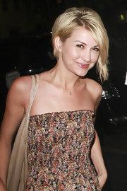 Chelsea Kane wore her asymmetrical bob with extra volume at the back.