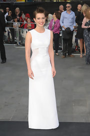 Daniella Kertesz chose a simple white column dress for the 'World War Z' premiere.