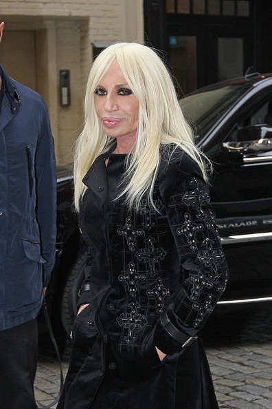 Fashion icon Donatella Versace, dressed in black from head to toe, makes her way around Soho in New York City