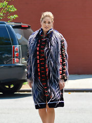 Doutzen Kroes posed for 'Elle' magazine wearing this bold furry coat.