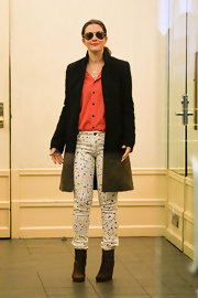 Drew Barrymore chose these funky white jeans with paint-splatter print for her casual but stylish look while out in NYC.