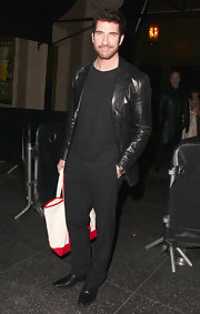 Dylan McDermott showed his classic style with a black leather jacket while leaving a pre-Oscar party in Hollywood.