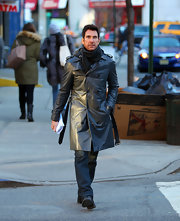 Dylan McDermott rocked an edgy leather trenchcoat while hitting the streets of NYC.