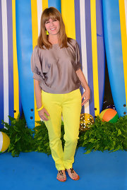 Kate Garraway chose a loose, silky gray top to pair with her highlighter pants at the 'Teen Beach Movie' premiere.