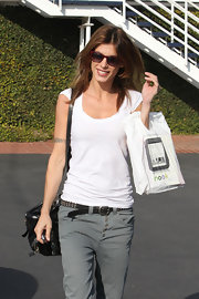 Elisabetta Canalis kept low-key in a basic white T-shirt and gray jeans.