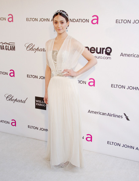 Emmy Rossum Wore Catherine Deane at Elton John's 2013 Oscars Party
