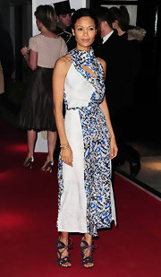 Thandie Newton played up the modern feel of her unique Peter Pilotto dress with cutting edge Nicholas Kirkwood sandals. The lizard and mesh heels were the perfect choice for Thandie's look.