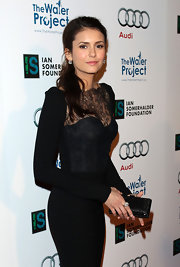 Nina Dobrev wore her hair in a casual low ponytail at The Ripple Effect benefiting the Water Project.