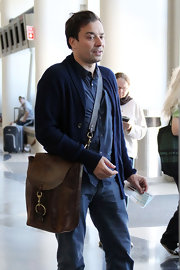 Jimmy looks ahead of the fashion game in this masculine leather tote.