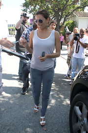 Actress Eva Longoria wore a pair of Houlihan skinny cargos in vintage navy while on her way to a charity event.