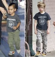 The Jolie-Pitt clan loves classic rock tees... here Maddox is sporting a Ramones concert t-shirt.