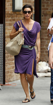 Gina Gershon's embellished thong sandals looked perfectly comfy for a busy day out.