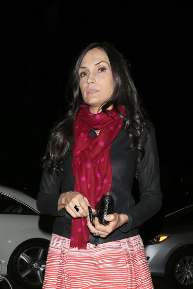 Famke Janssen Patterned Scarf