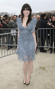 Daisy Lowe shimmered at the Elie Saab show in silver metallic platform pumps.