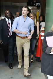 """Chris Evans stepped out in a pair of """"Corporal"""" Twill Chinos for his appearance on 'Good Morning America.' Chris paired the pants with a cognac belt and a sky blue button-down."""