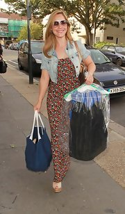 Heidi Range arrived at Riverside Studios wearing a printed maxi dress topped with a denim jacket.