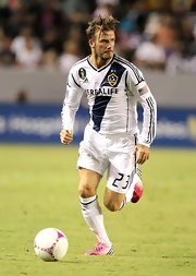 David Beckham showed his support for breast cancer awareness with a pink ribbon on his LA Galaxy jersey.
