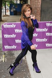 Paula Abdul arrived for an appearance on 'The Wendy Williams Show' wearing an edgy purple and black ensemble.