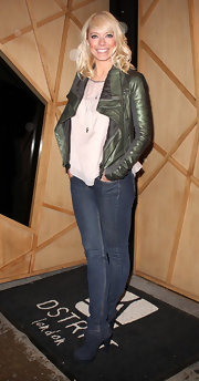 Liz Mcclarnon mixed and matched a black leather jacket and a feminine blouse for Nick Ede's birthday party.