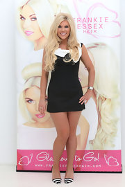 Frankie Essex wasn't afraid to show a little leg at her 'Frankie Essex Hair' event in London where she sported this black mini dress.