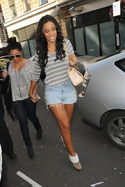 Rochelle Wiseman showed off her legs in a pair of dangerously spiked denim cutoffs.
