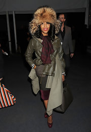 June Ambrose was seen at Day 2 of MBFW 2011 wearing an ensemble to beat the cold weather.
