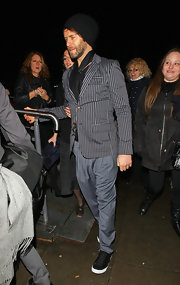Howard Donald topped off his striking ensemble at the Brit Awards with a striped gray blazer.