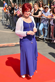 Sharon Osbourne used a knit cardigan as a cover-up to her sleeveless maxi dress at the 'X Factor' auditions.