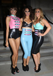 Heidi Range rocked a two-tone leather jumpsuit as her group, Sugarbabes, performed at the G.A.Y. Nightclub in London.