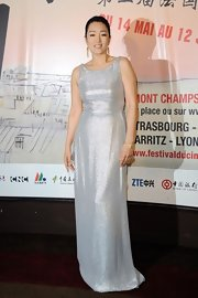 Gong Li was statuesque in this scintillating silver evening gown.
