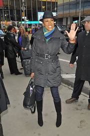 Robin Roberts sported a belted down jacket for heading into GMA in Times Square.