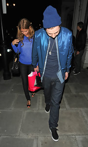 Professor Green was in the mood for blue during the 'Made in Chelsea' cast party, wearing this knit beanie with an iridescent track jacket.