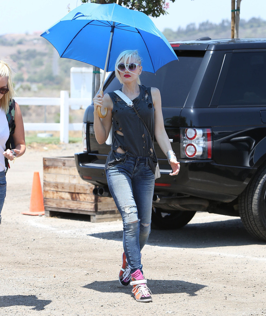 Gwen Stefani seen out and about with her kids zuma and Kingston in Los Angeles. They went to the strawberry farm with animals. Photograph: © T.M.