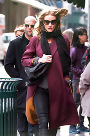 Rosie Huntington-Whiteley bundled up in a plaid wool scarf while out in NYC.