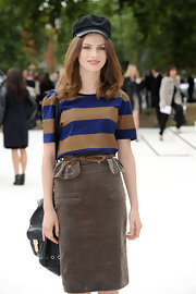 Tali Lennox geared up for London Fashion Week in a striped T-shirt tucked into a pencil skirt.