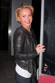 Actress Hayden Panettiere was spotted leaving BOA Steakhouse wearing a sterling silver spike ring.